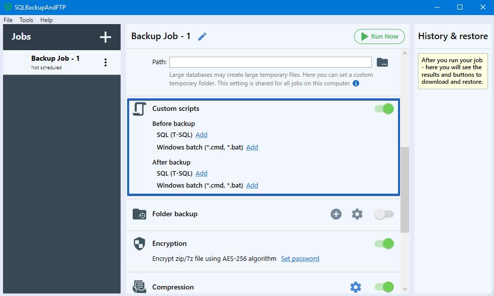 SQLBackupAndFTP Custom scripts
