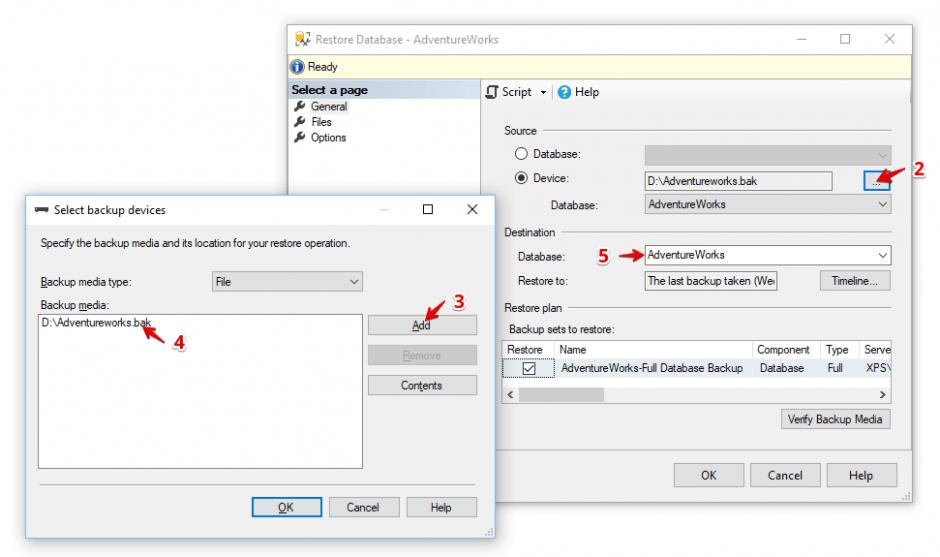 ssms restore options