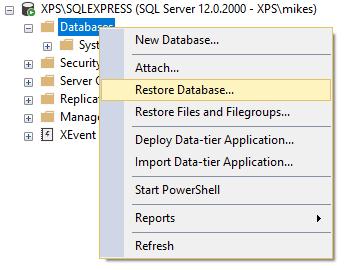 ssms restore database