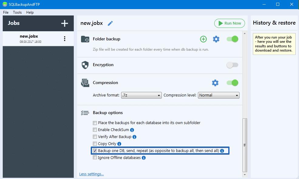 SQLBackupAndFTP Backup one DB, send, repeat option