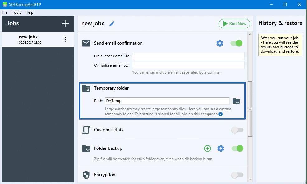 SQLBackupAndFTP Temp Folder