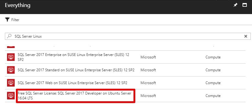 Find SQL Ubuntu Microsoft Azure