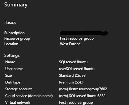 Summary SQL server Ubuntu Microsoft Azure