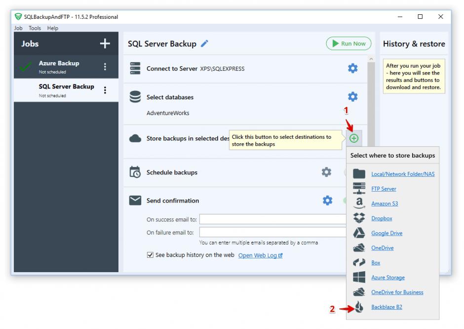 backblaze: select backup destination