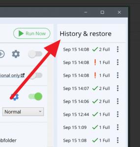 database backup history & restore