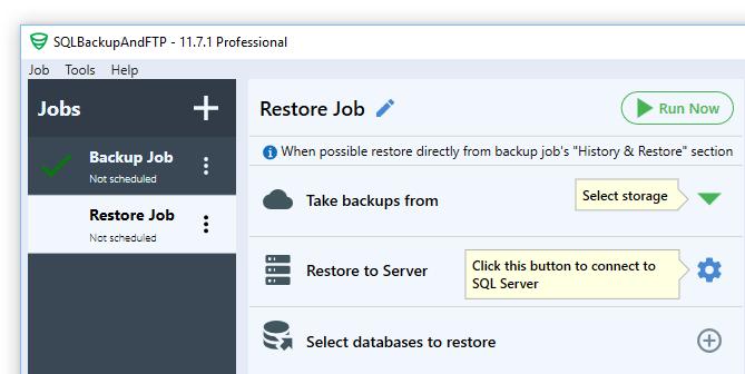 new sql server restore job