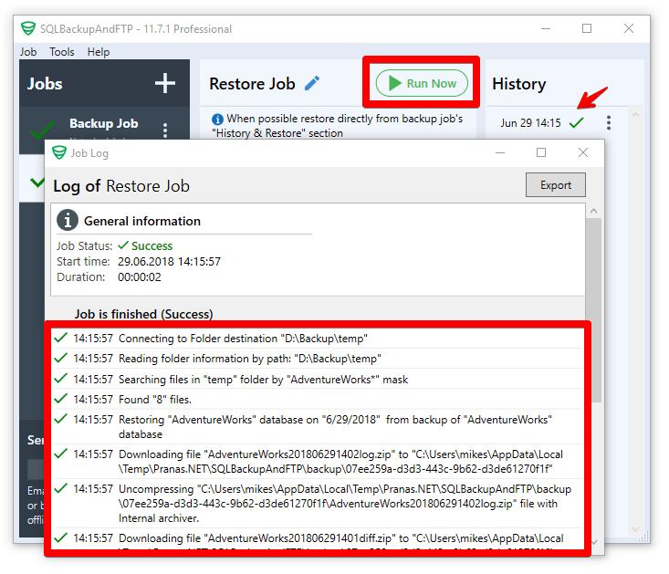 run sql server database restore